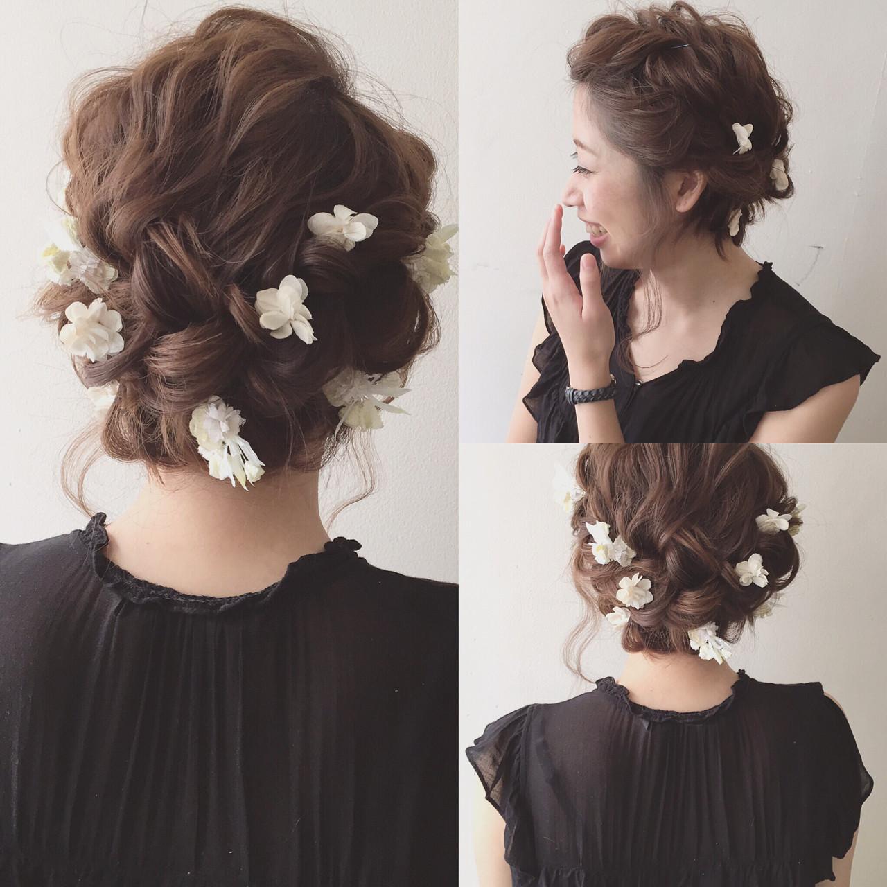 夏 簡単ヘアアレンジ 結婚式 ショート ヘアスタイルや髪型の写真・画像