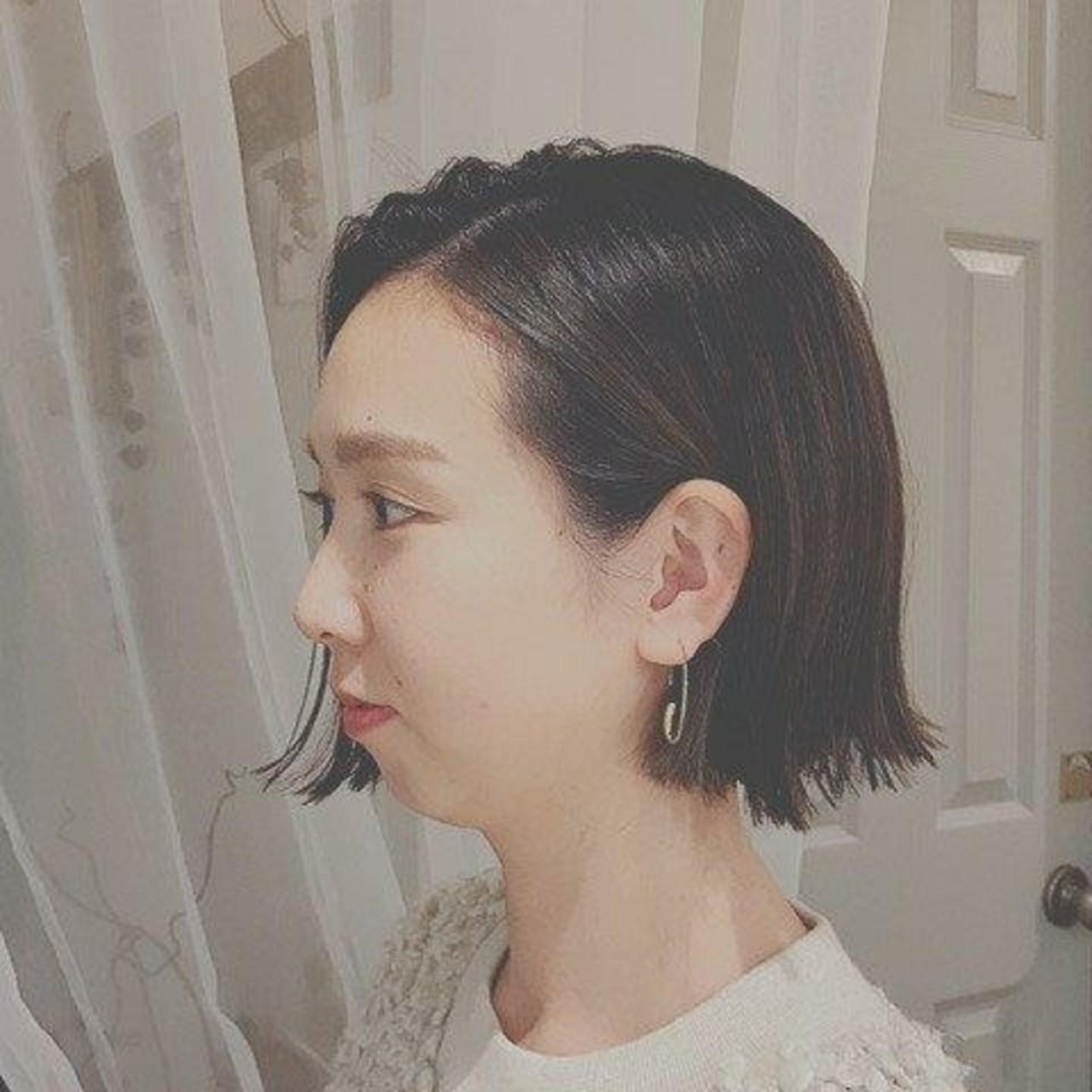 ボブ 冬 フェミニン デート ヘアスタイルや髪型の写真・画像 | 浦川由起江 / nanon
