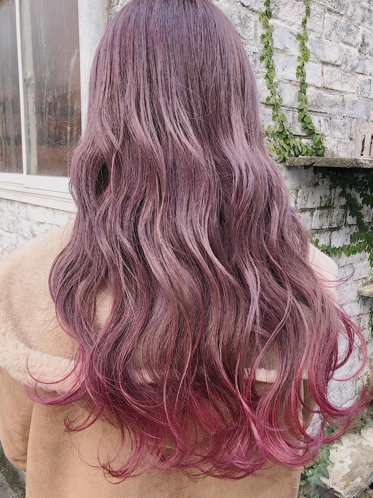 ピンクラベンダー グラデーションカラー ロング ピンクベージュ ヘアスタイルや髪型の写真・画像 | ニシムラ カナ / La familia