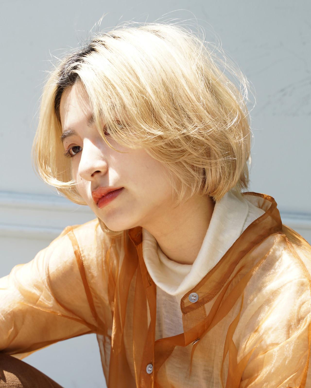 小顔ショート ボブ ブリーチオンカラー モード ヘアスタイルや髪型の写真・画像 | 元橋啓太 / snob