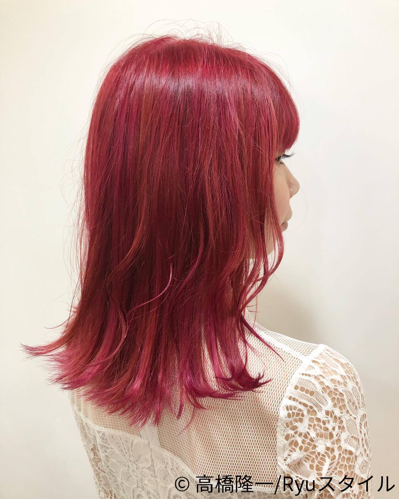 ピンク ガーリー ミディアム ベリーピンク ヘアスタイルや髪型の写真・画像