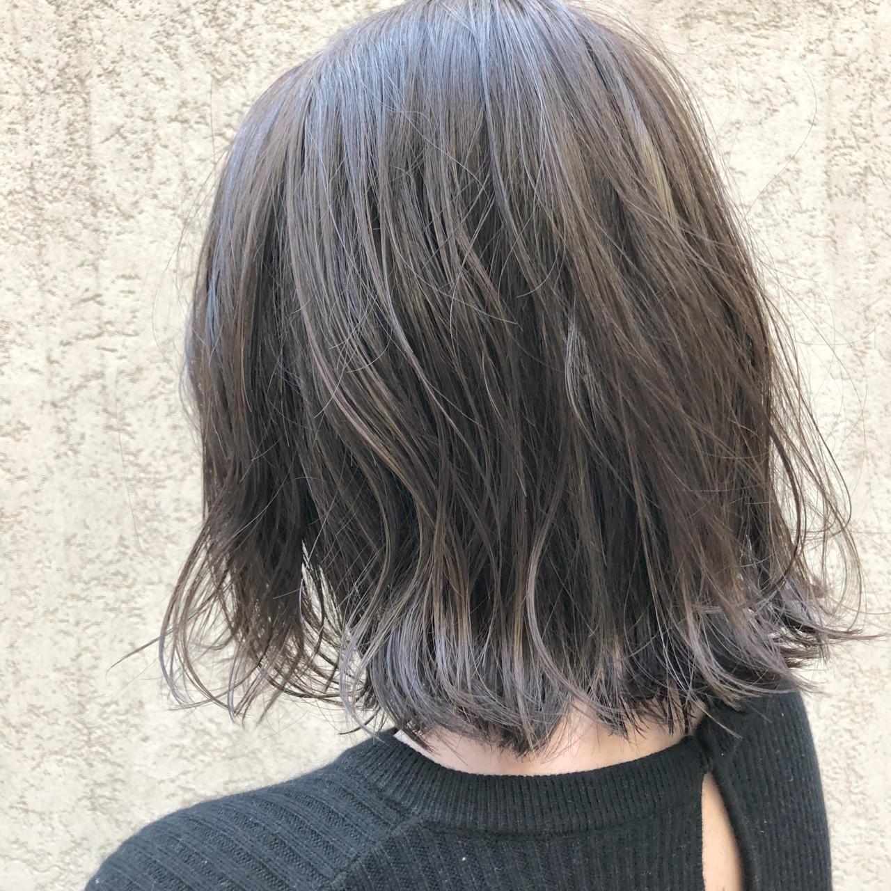 ストリート ボブ アッシュ ウェーブ ヘアスタイルや髪型の写真・画像