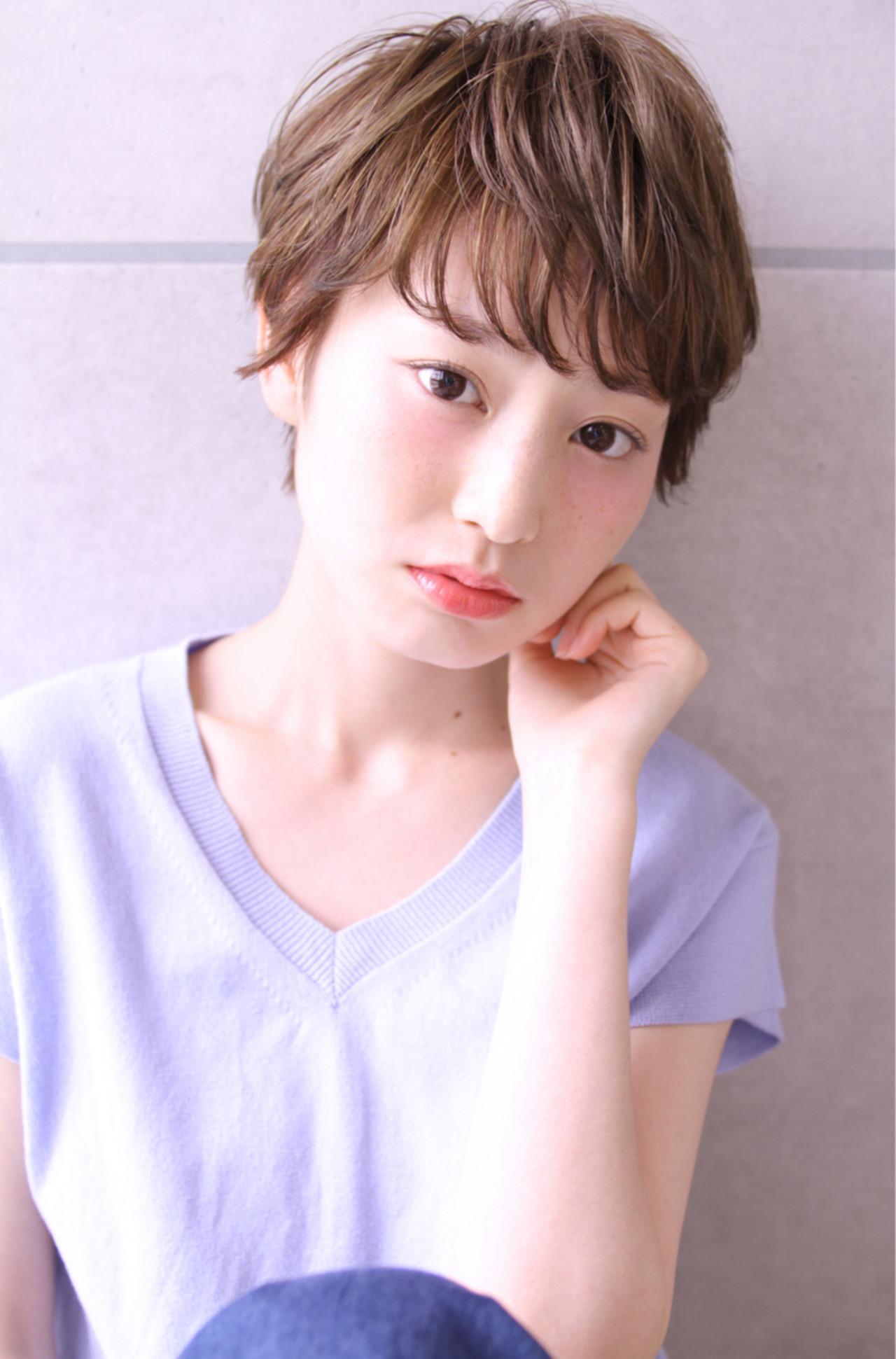 アッシュ パーマ ショート ハイライト ヘアスタイルや髪型の写真・画像 | 清水 孝純 / Rose