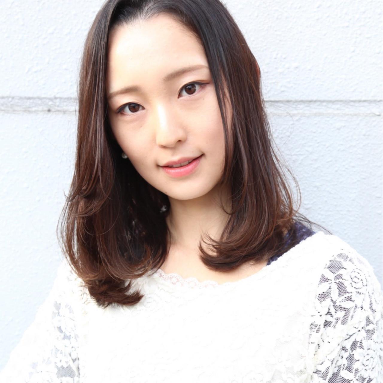 ナチュラル ワンカール ストレート セミロング mod\u0027s hair 仙台