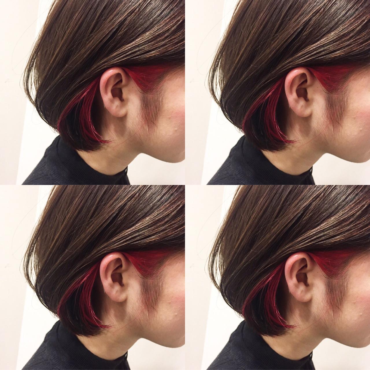 耳周りにアクセントカラー インナーカラー