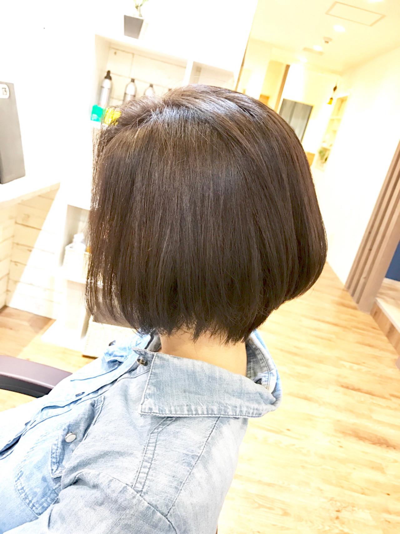ナチュラル 黒髪 ショートボブ 似合わせ ヘアスタイルや髪型の写真・画像 | MISAKI.K / FIX hair なんば