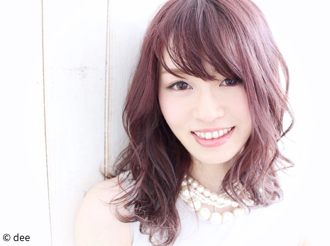 パープル ウェットヘア フェミニン ピンク ヘアスタイルや髪型の写真・画像
