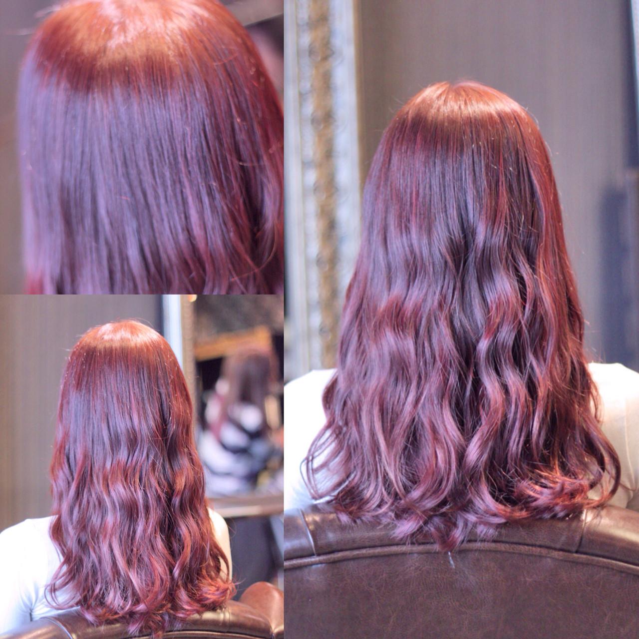 ピンク ウェットヘア ウェーブ ストリート ヘアスタイルや髪型の写真・画像