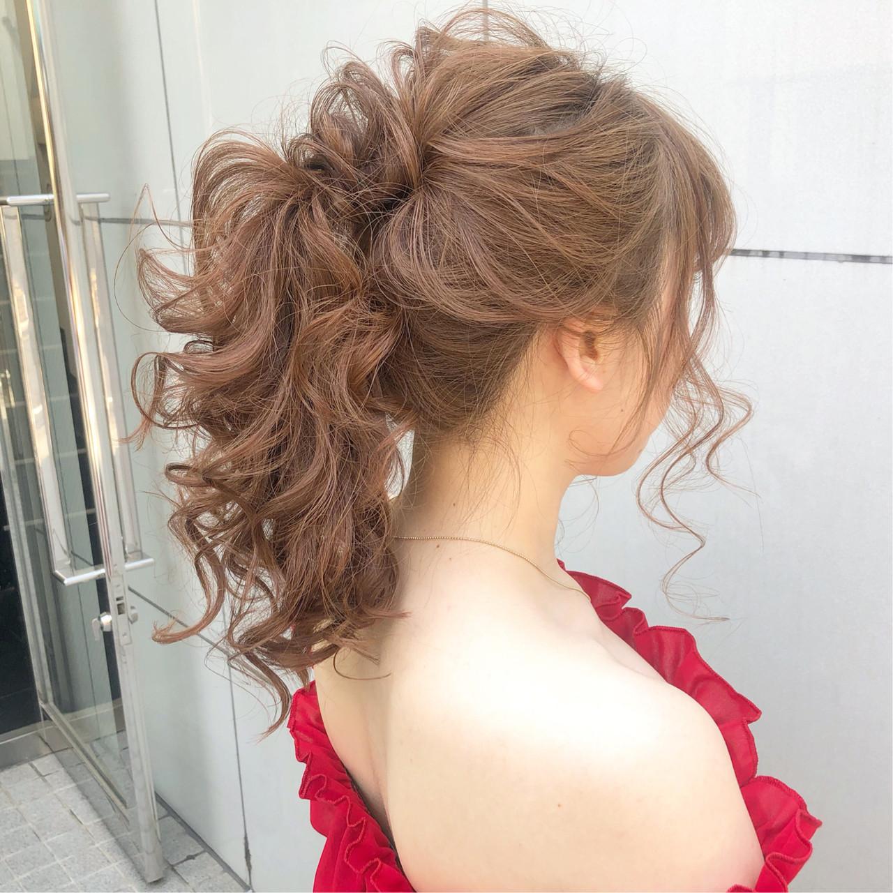 結婚式 ナチュラル セミロング ヘアアレンジ ヘアスタイルや髪型の写真・画像