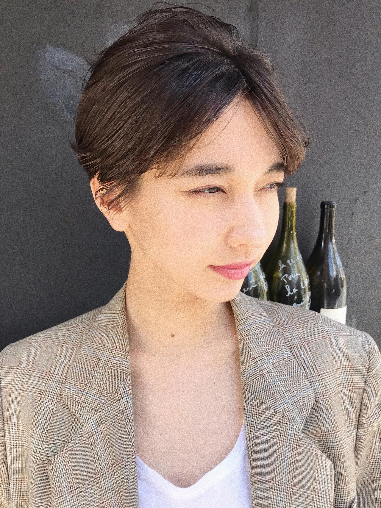 大人かわいい ハンサムショート 黒髪ショート ショート ヘアスタイルや髪型の写真・画像   小西敬二郎 / Heartim