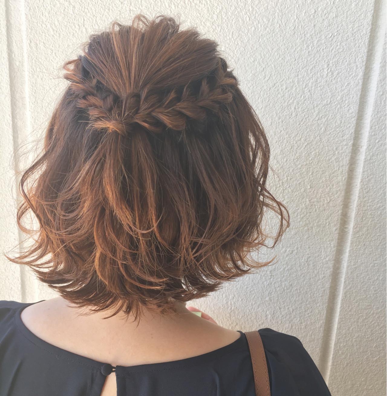 ヘアアレンジ 大人女子 ボブ 波ウェーブ ヘアスタイルや髪型の写真・画像