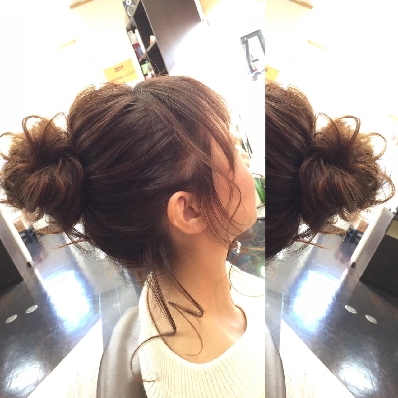 ショート 簡単ヘアアレンジ フェミニン セミロング ヘアスタイルや髪型の写真・画像