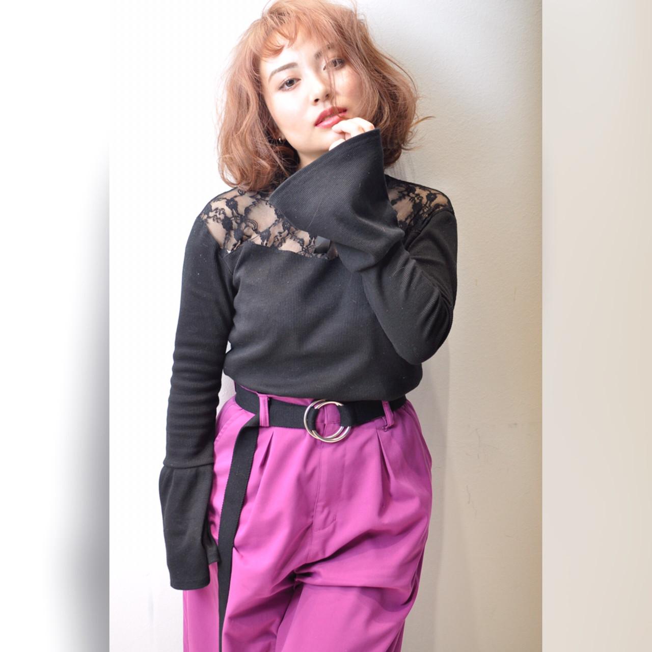 ストリート パープル ピンク レッド ヘアスタイルや髪型の写真・画像