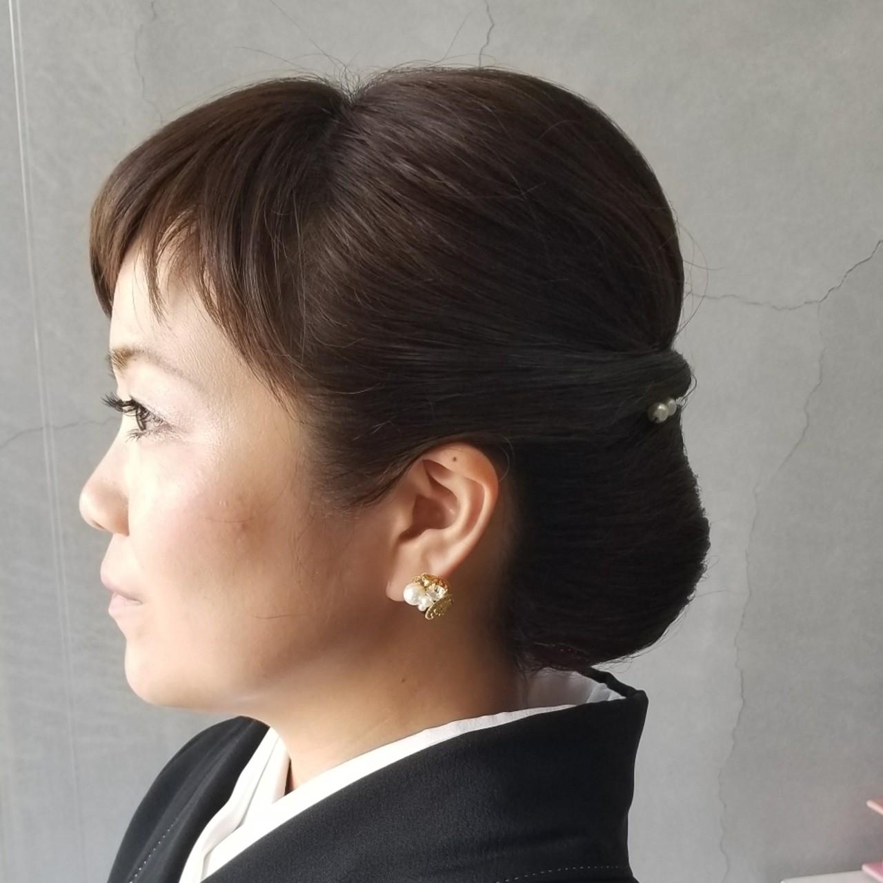 着物 まとめ髪 エレガント 結婚式 ヘアスタイルや髪型の写真・画像 | よしだ なおよ / Cheveux