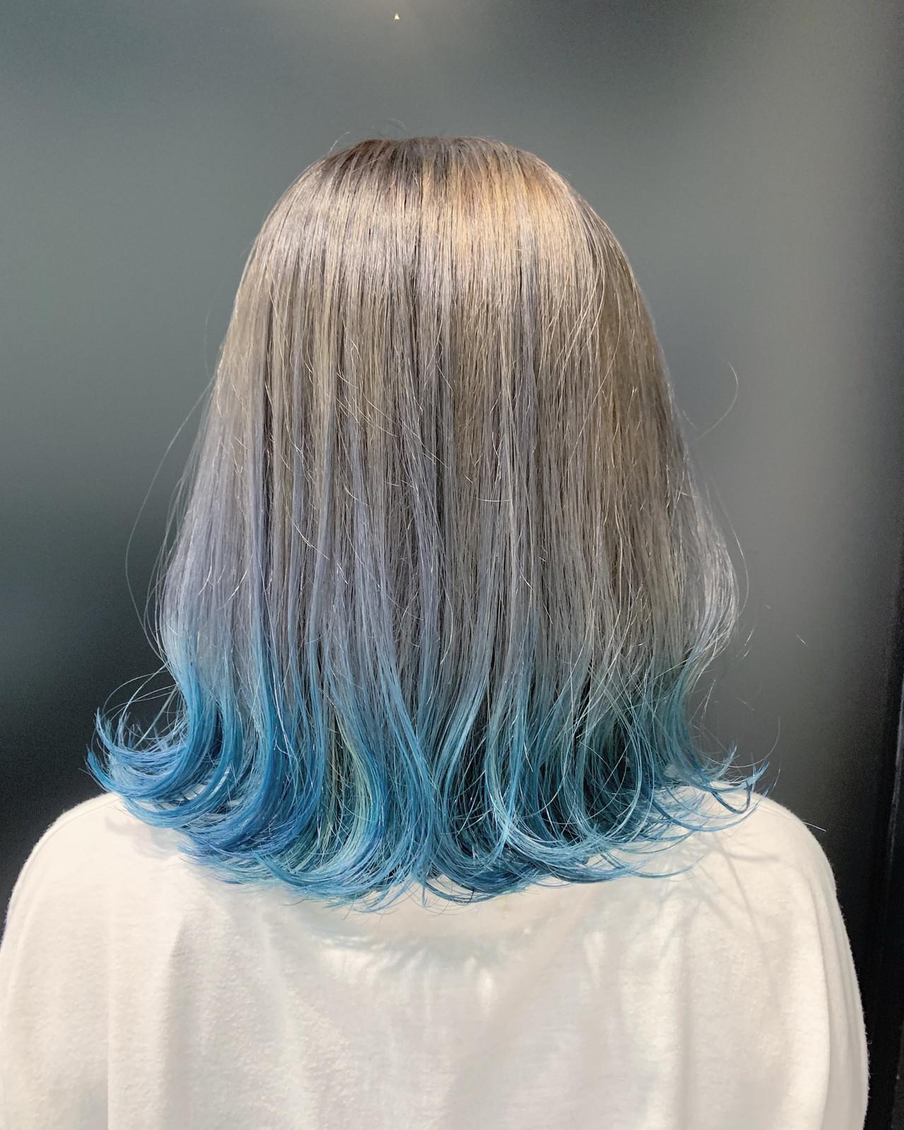ミディアム デザインカラー ガーリー 裾カラー ヘアスタイルや髪型の写真・画像 | 平良 祥一 / HAIR&MAKE EARTH 新都心店