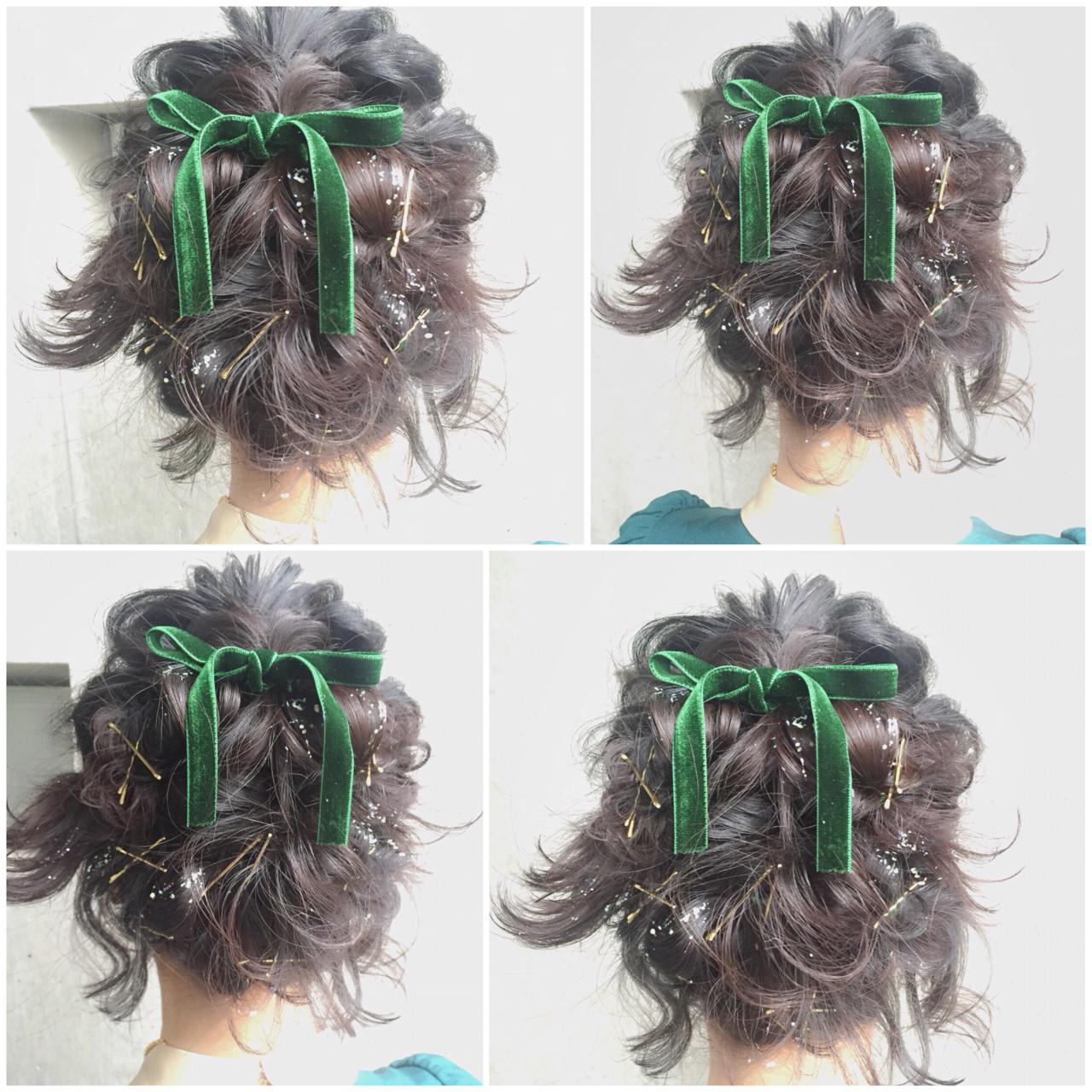 簡単ヘアアレンジ ボブ ハーフアップ フェミニン ヘアスタイルや髪型の写真・画像