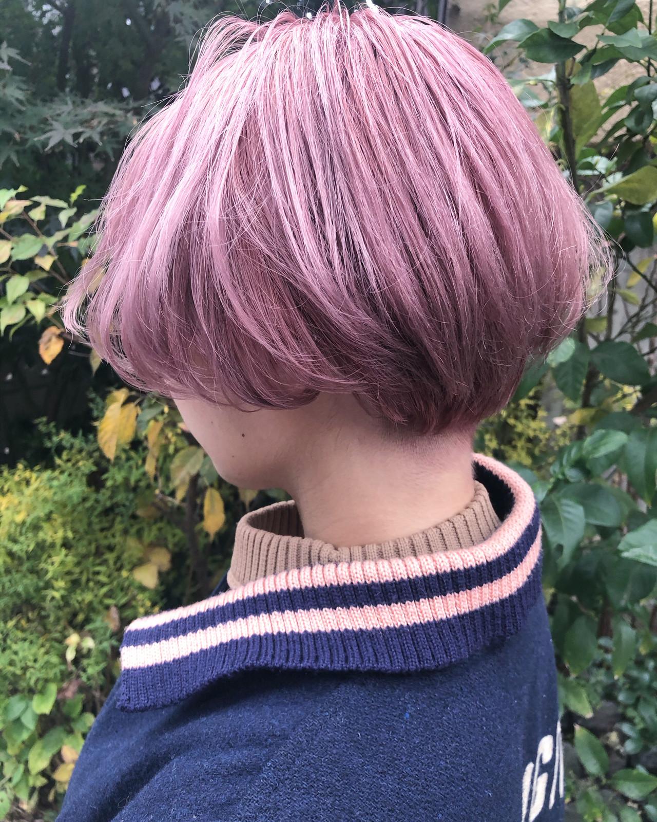 ショート ガーリー ショートボブ ピンクベージュ ヘアスタイルや髪型の写真・画像 | ニシオカ タクヤ / drama