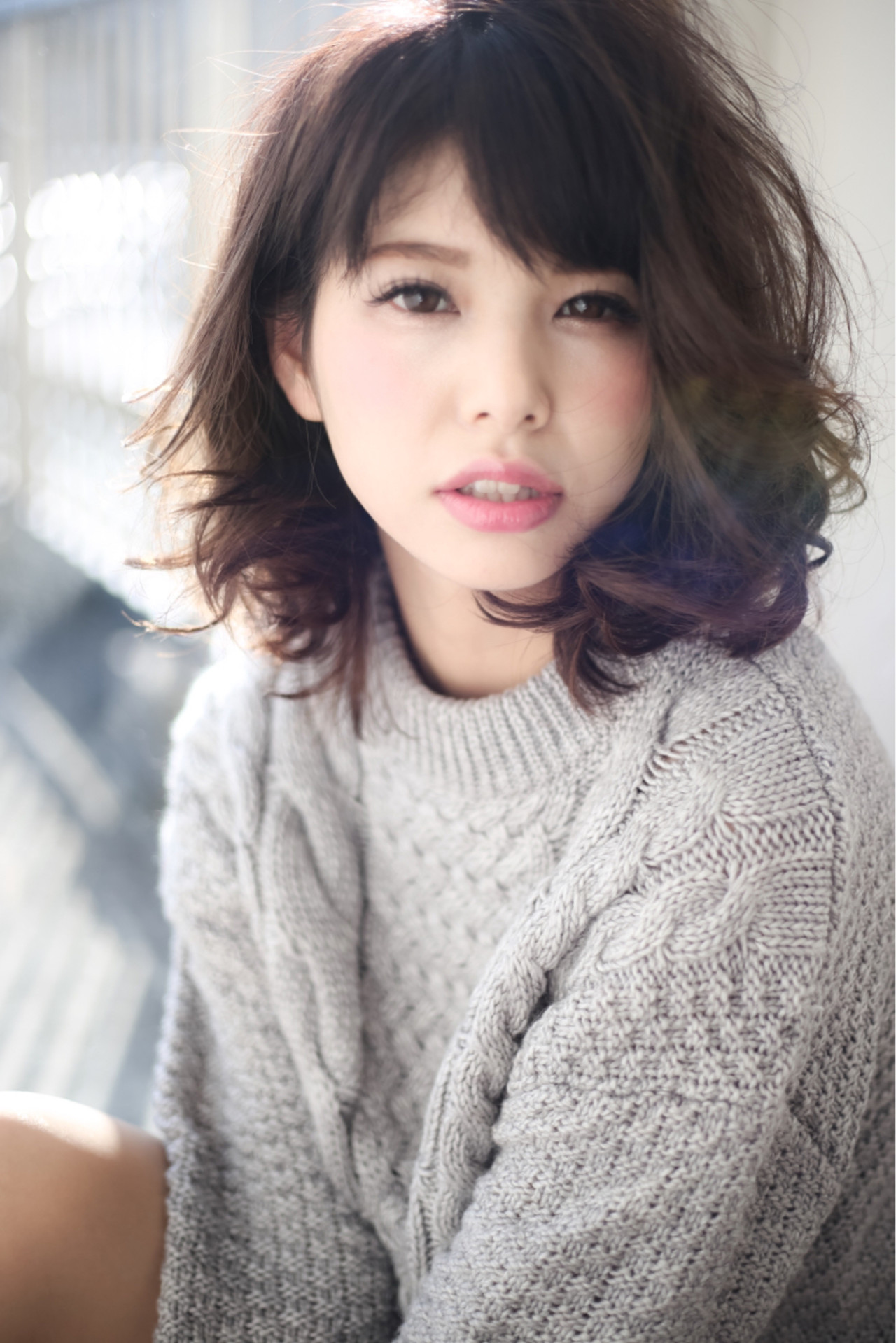 冬 色気 フェミニン アッシュ ヘアスタイルや髪型の写真・画像
