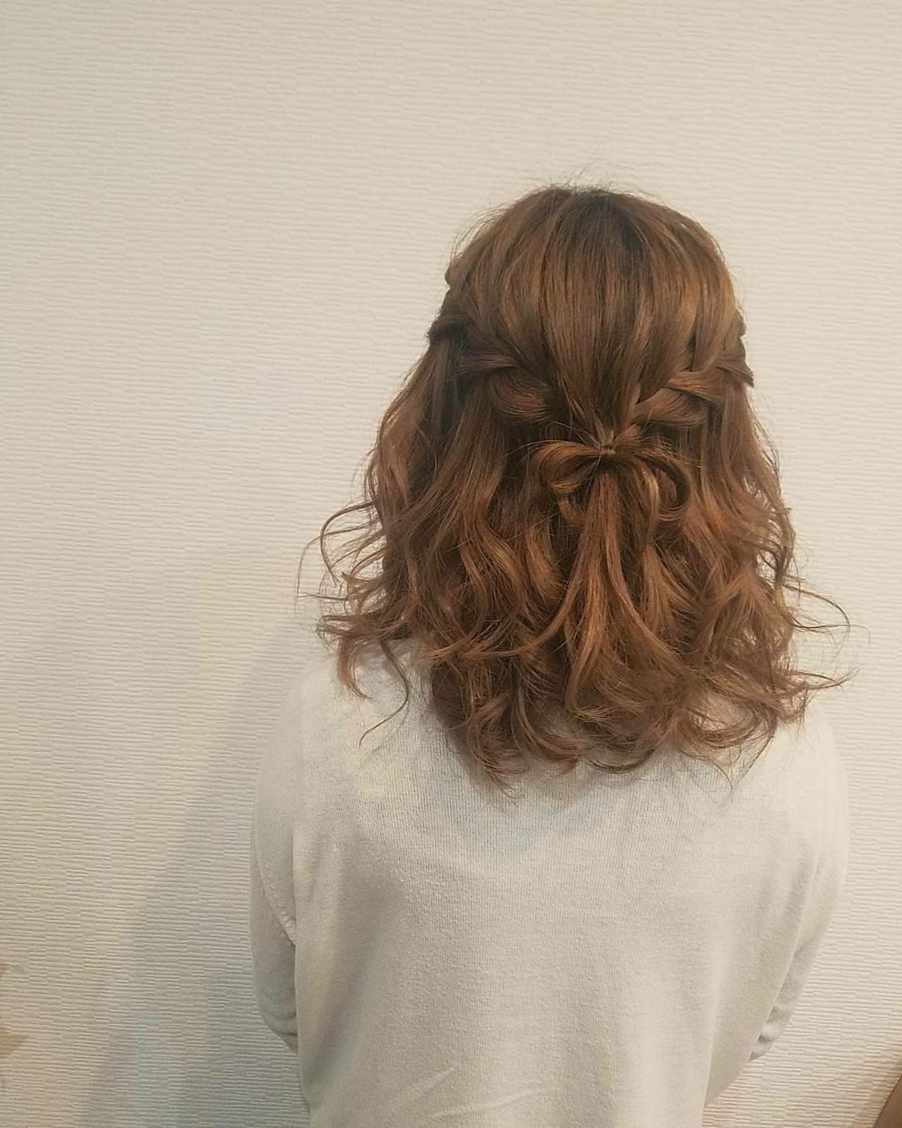 ミディアム ガーリー ハーフアップ ウォーターフォール ヘアスタイルや髪型の写真・画像 | mai / HAIR SALON STELLA