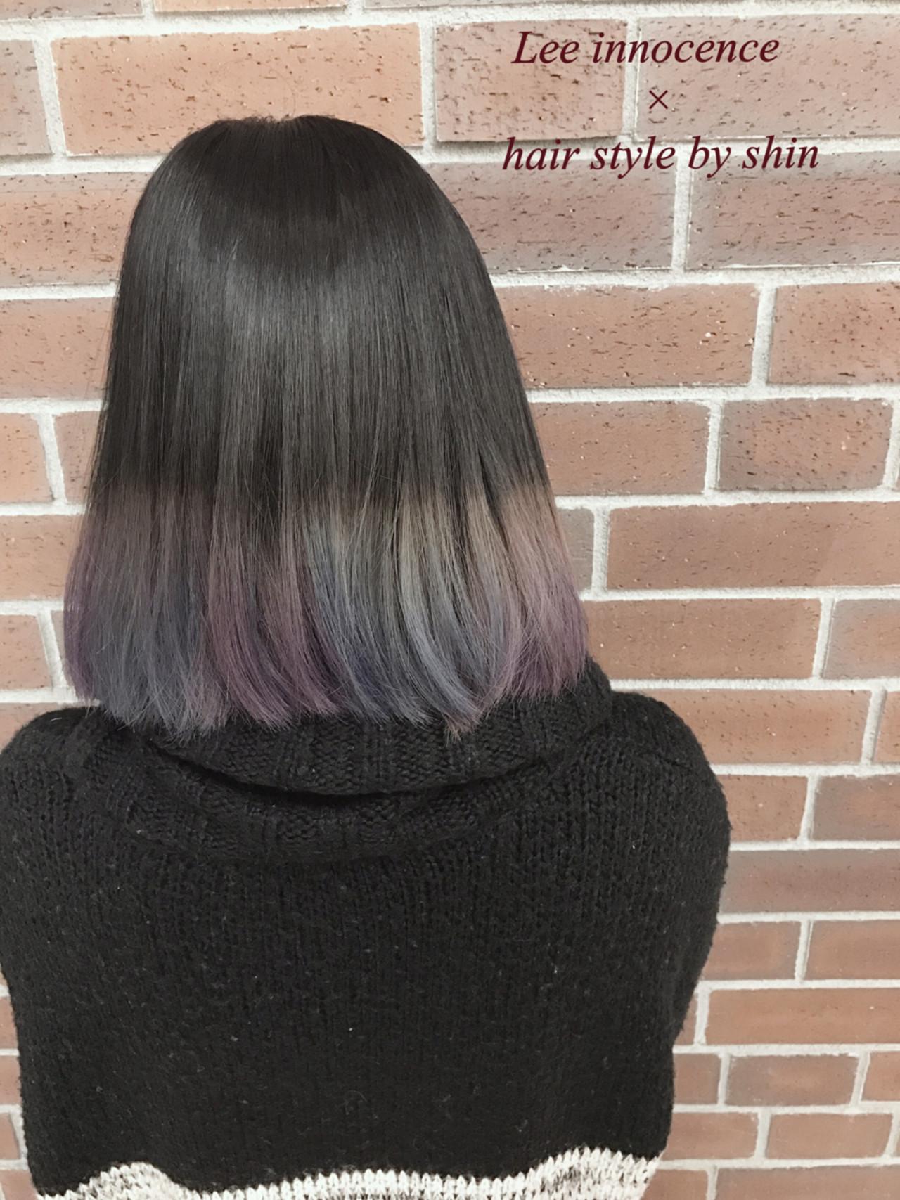 アッシュ グラデーションカラー ストリート ボブ ヘアスタイルや髪型の写真・画像