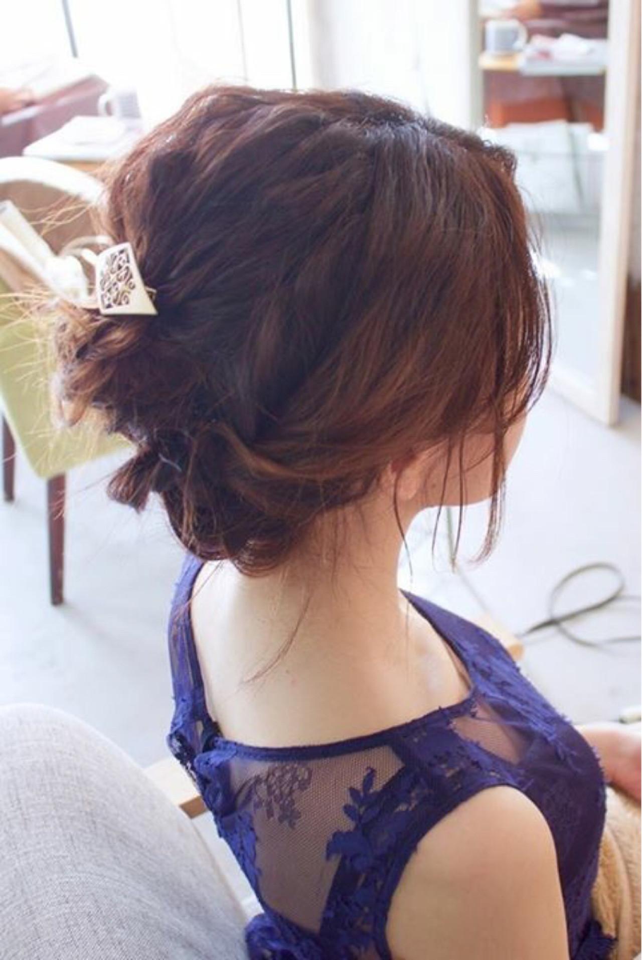 ミディアム デート 結婚式 ヘアアレンジ ヘアスタイルや髪型の写真・画像 | 大西 つねお /  ELMO