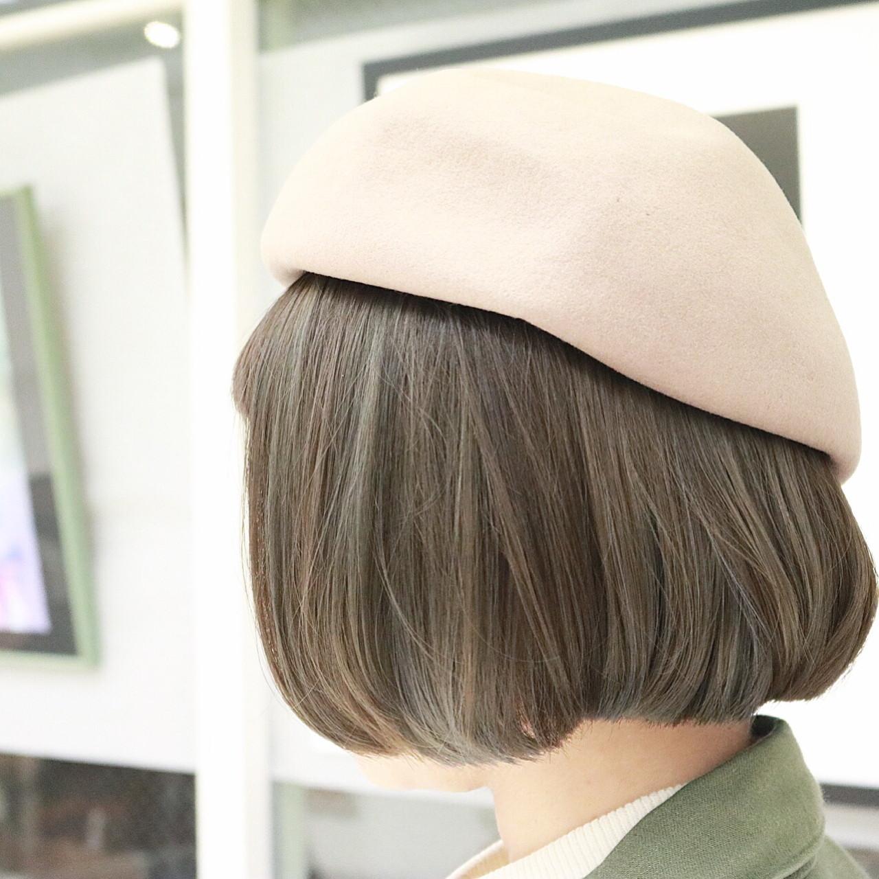 ストリート 外国人風 ボブ カーキアッシュ ヘアスタイルや髪型の写真・画像