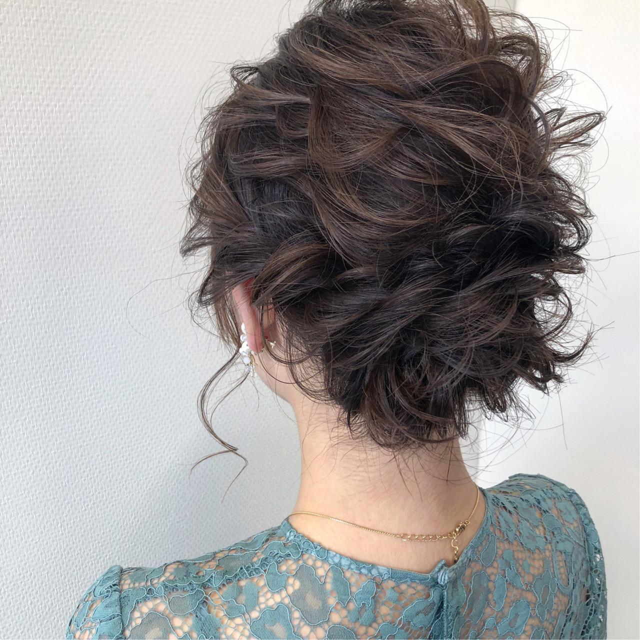 結婚式 ナチュラル 簡単ヘアアレンジ ボブ ヘアスタイルや髪型の写真・画像