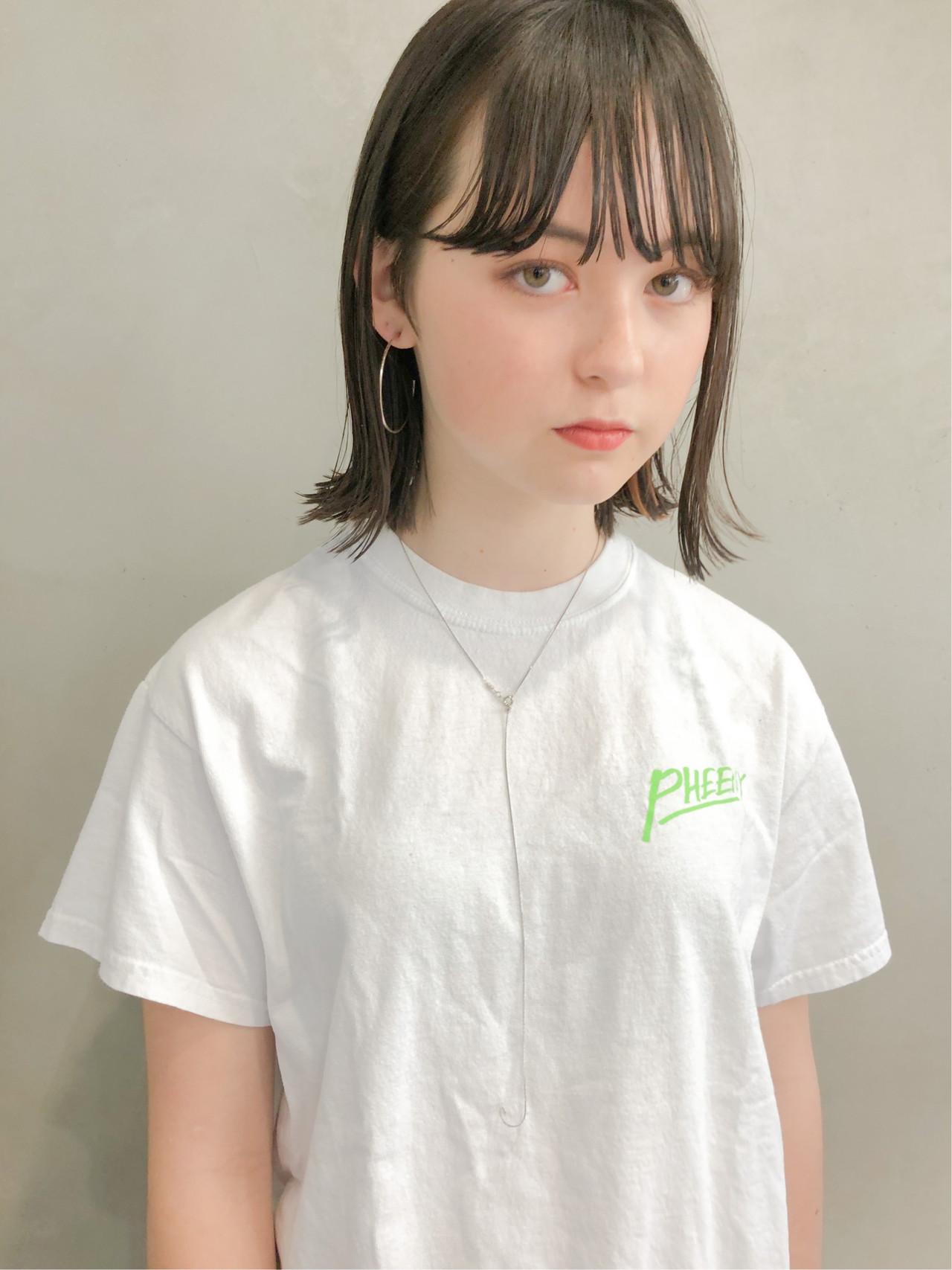 ロブ ナチュラル ショートボブ 切りっぱなしボブ ヘアスタイルや髪型の写真・画像 | ikeo gaku / H-eitf