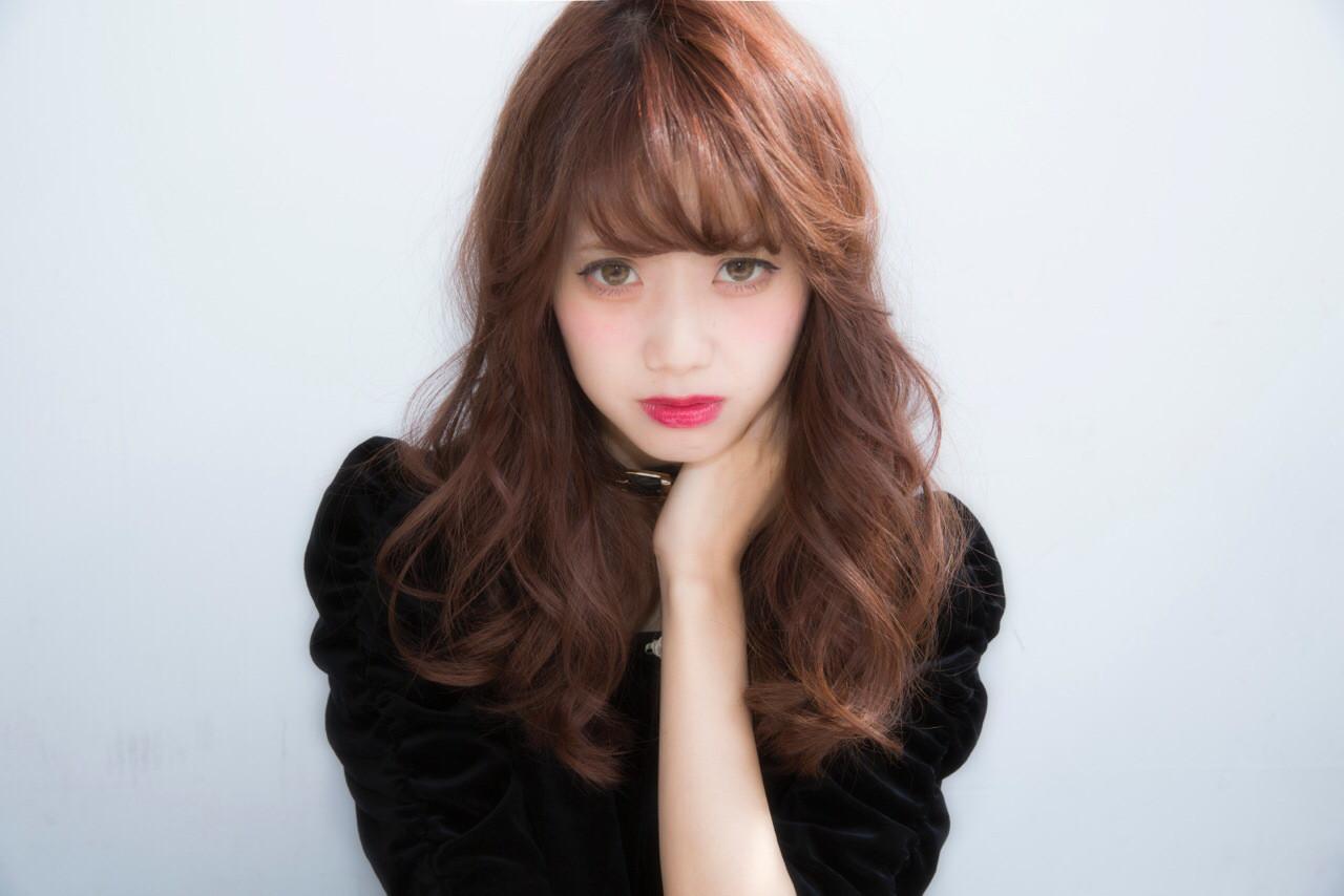 ガーリー レッド セミロング ピンク ヘアスタイルや髪型の写真・画像 | NARUOKA / Veil ヴェール