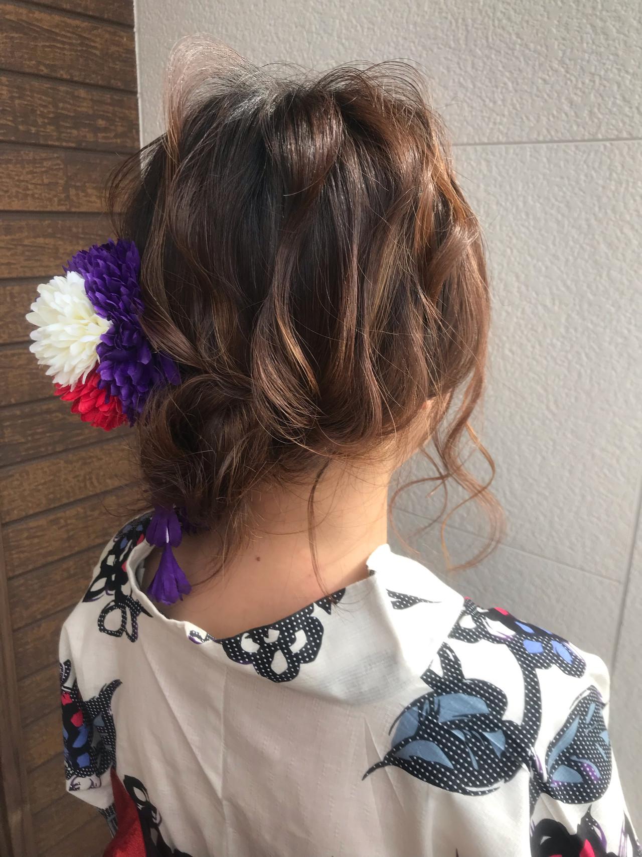 お祭り セミロング デート ナチュラル ヘアスタイルや髪型の写真・画像