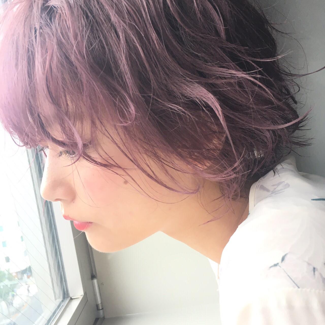 フェミニン ラベンダーピンク アンニュイ 外国人風カラー ヘアスタイルや髪型の写真・画像   ayaka /