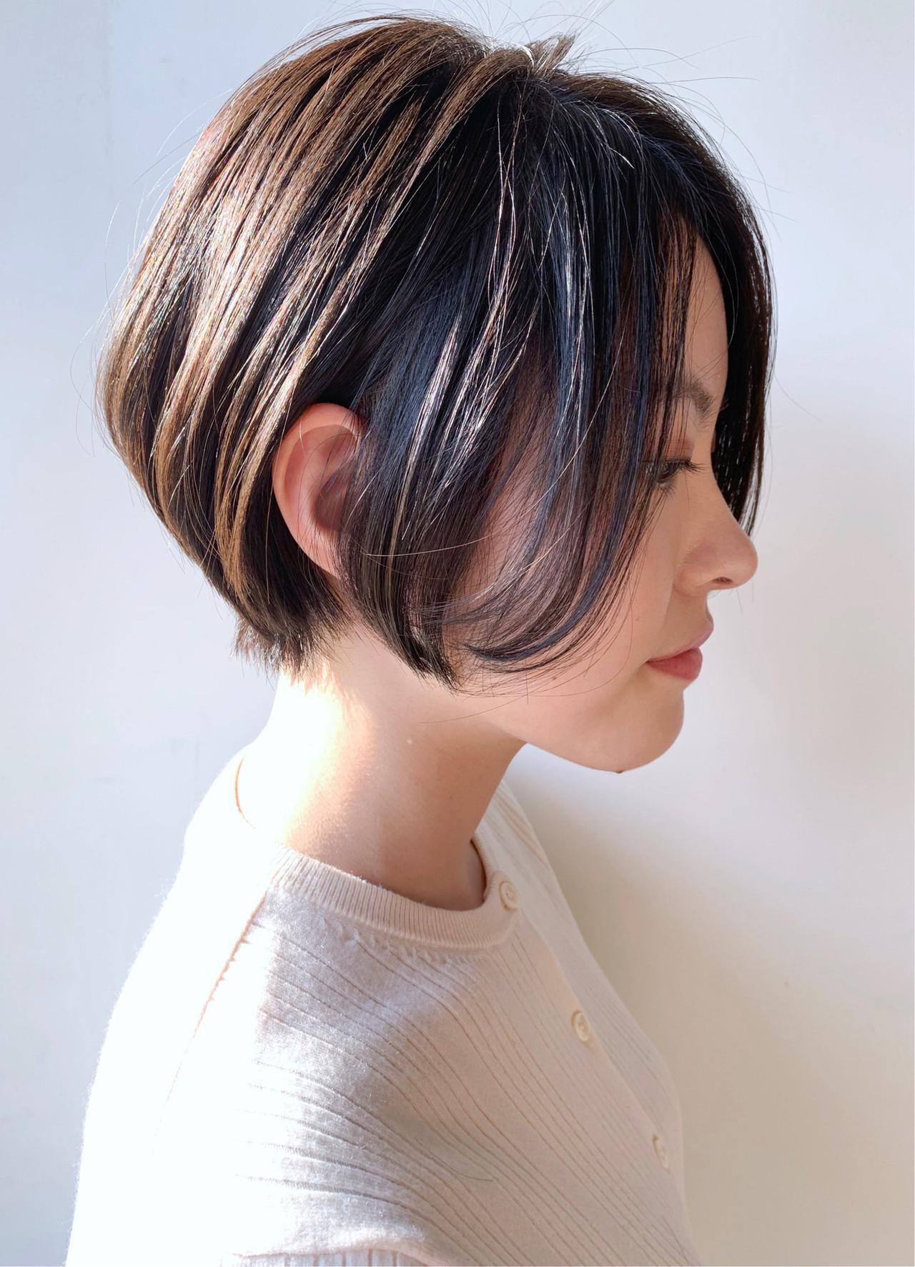 ナチュラル 丸みショート ショートヘア 大人かわいい ヘアスタイルや髪型の写真・画像