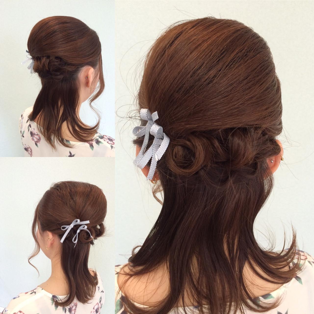 ハーフアップ 夜会巻 ミディアム ヘアアレンジ ヘアスタイルや髪型の写真・画像