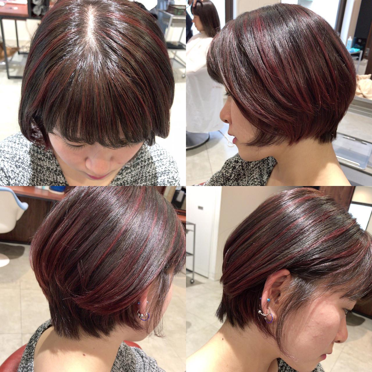 外国人風 グラデーションカラー 前髪あり ボブ ヘアスタイルや髪型の写真・画像