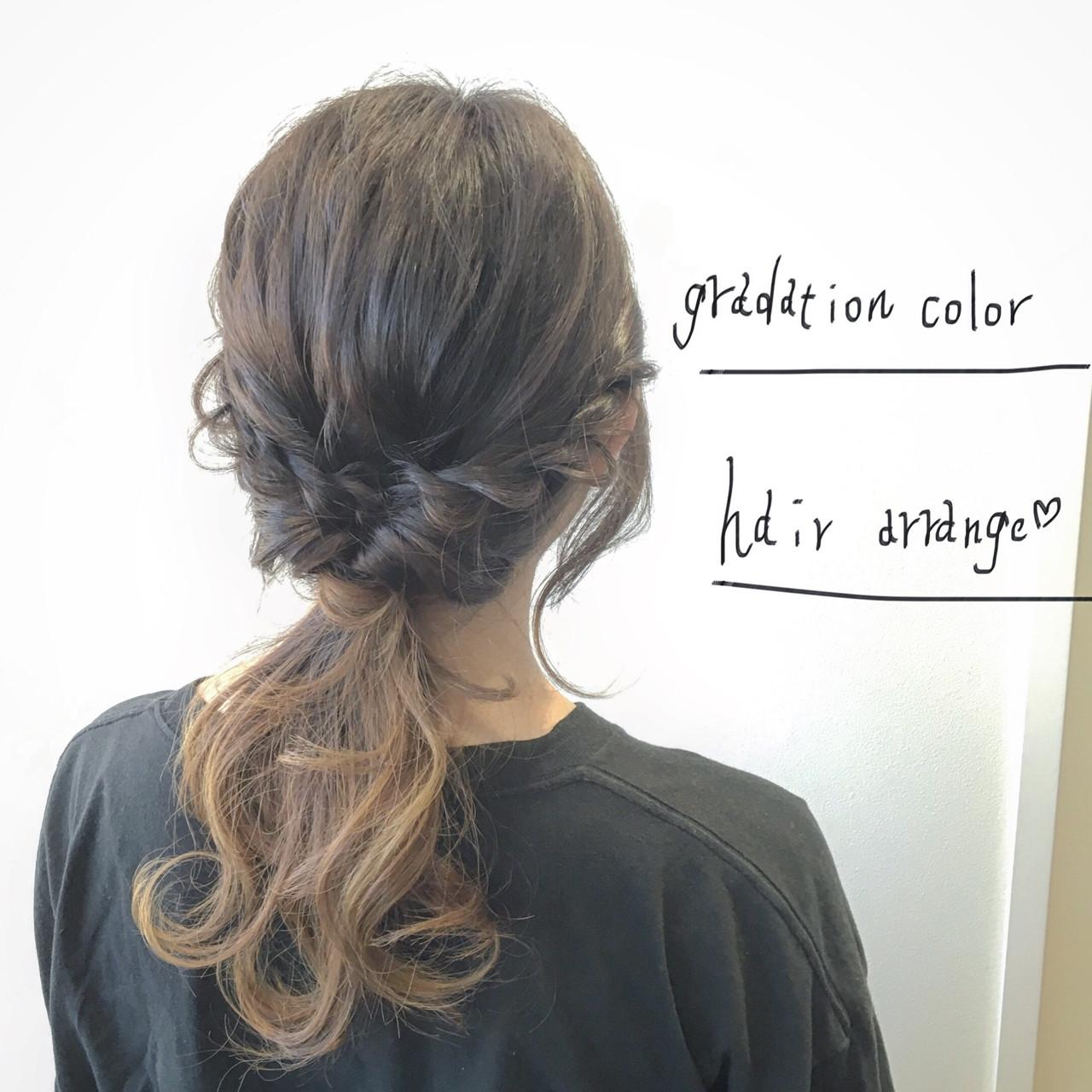 大人かわいい ショート 簡単ヘアアレンジ グラデーションカラー ヘアスタイルや髪型の写真・画像 | 安崎 龍哉 / 'ano 'ano
