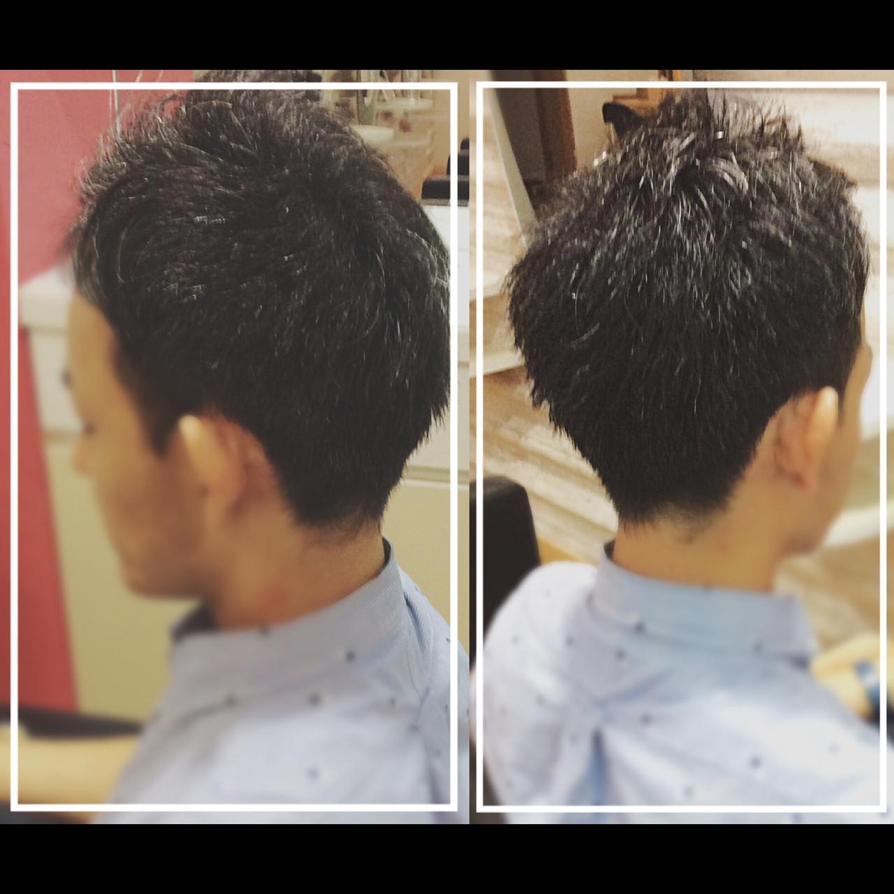 黒髪 ショート メンズヘア 大人ヘアスタイル ヘアスタイルや髪型の写真・画像