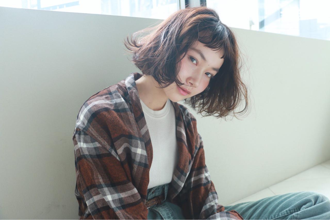 外国人風 透明感 くせ毛風 ボブ ヘアスタイルや髪型の写真・画像