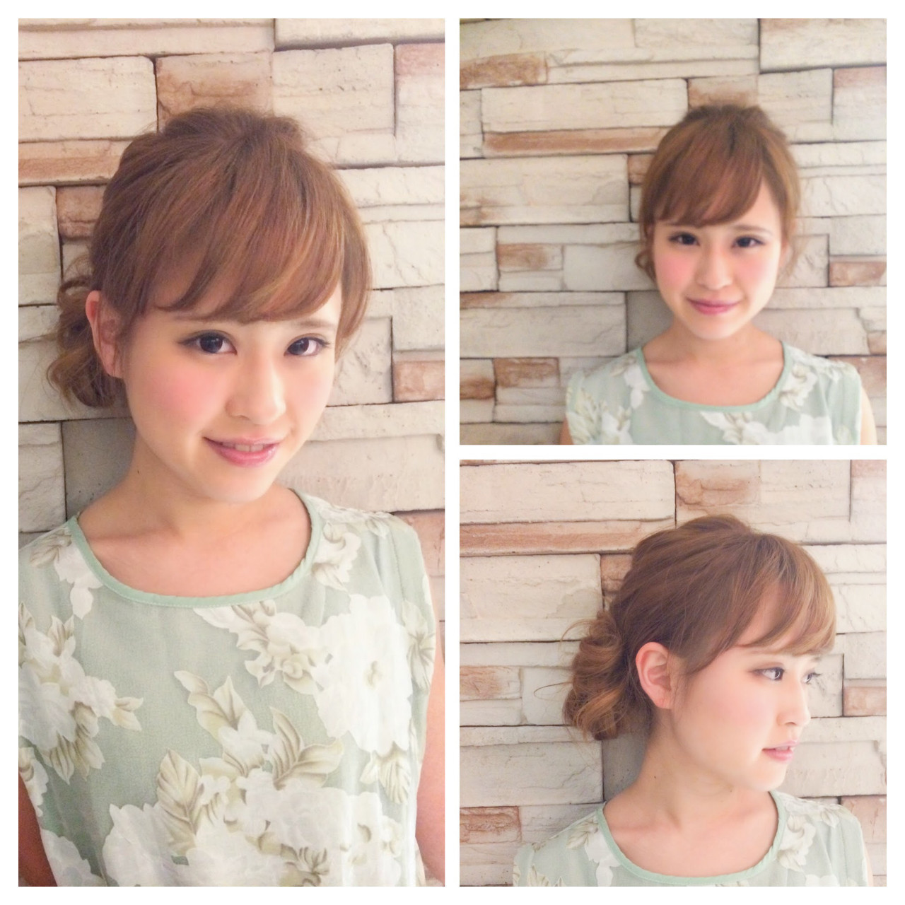 ハイライト 簡単ヘアアレンジ 前髪あり フェミニン ヘアスタイルや髪型の写真・画像