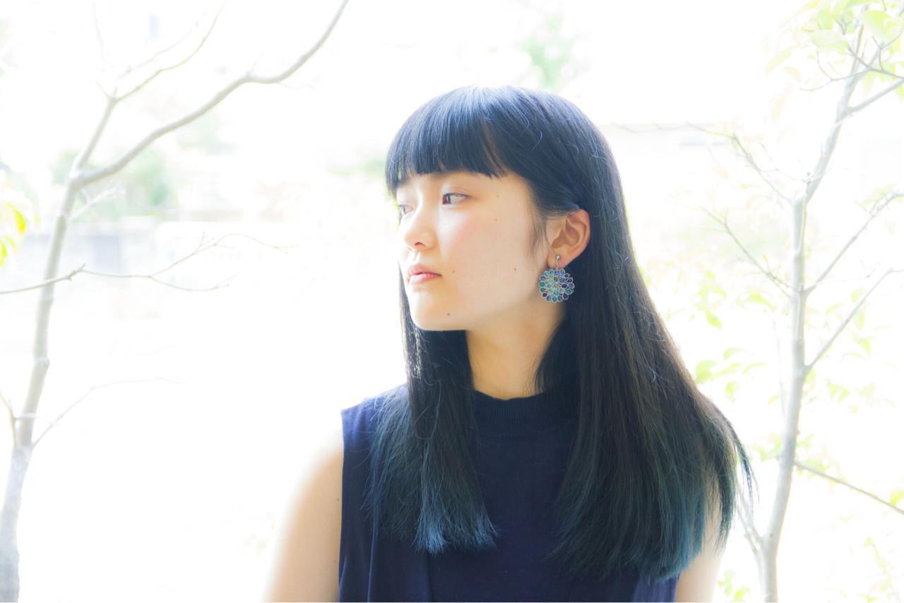 黒髪 モード ロング ブリーチ ヘアスタイルや髪型の写真・画像