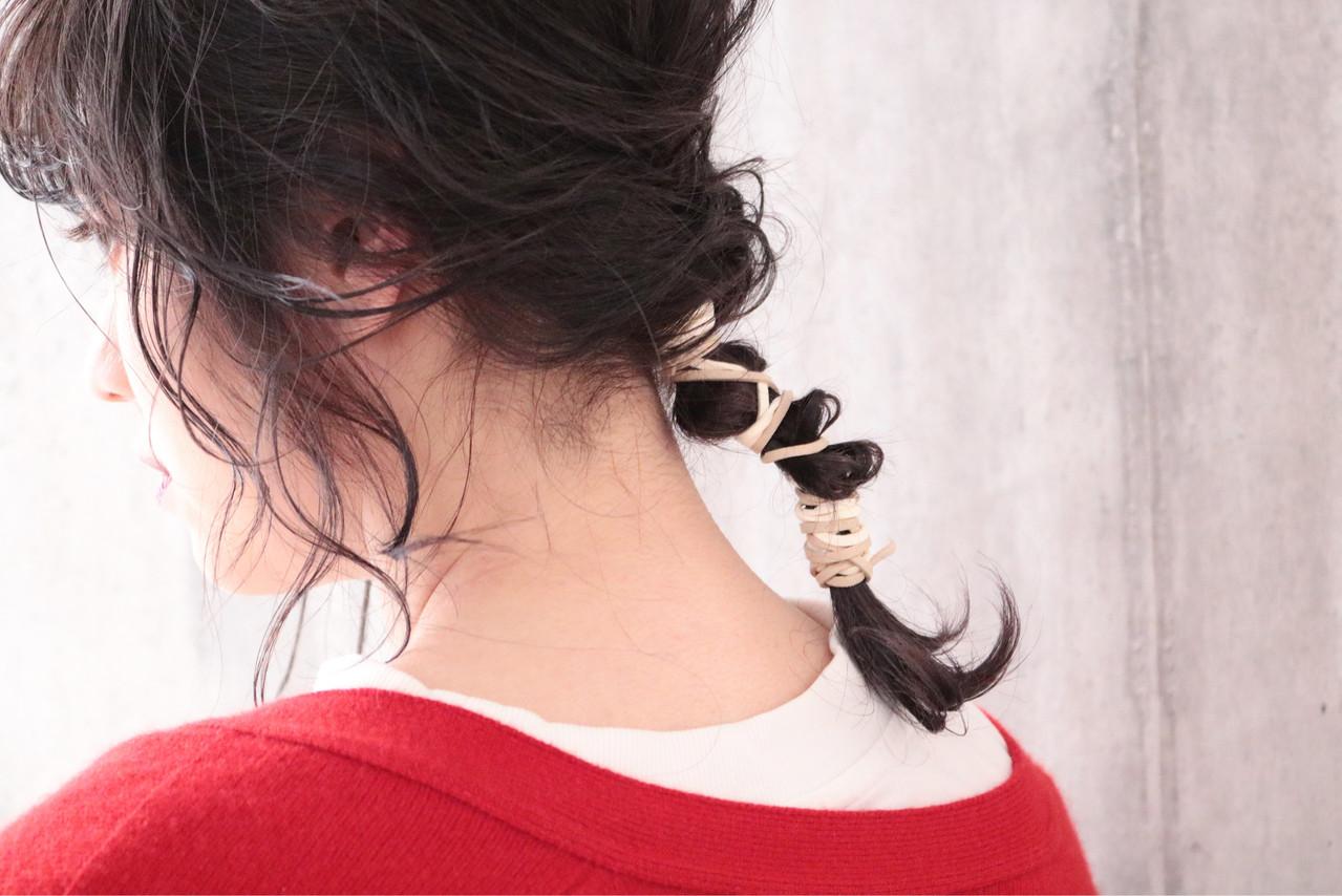 ミディアム ナチュラル アンニュイほつれヘア ヘアアレンジ ヘアスタイルや髪型の写真・画像