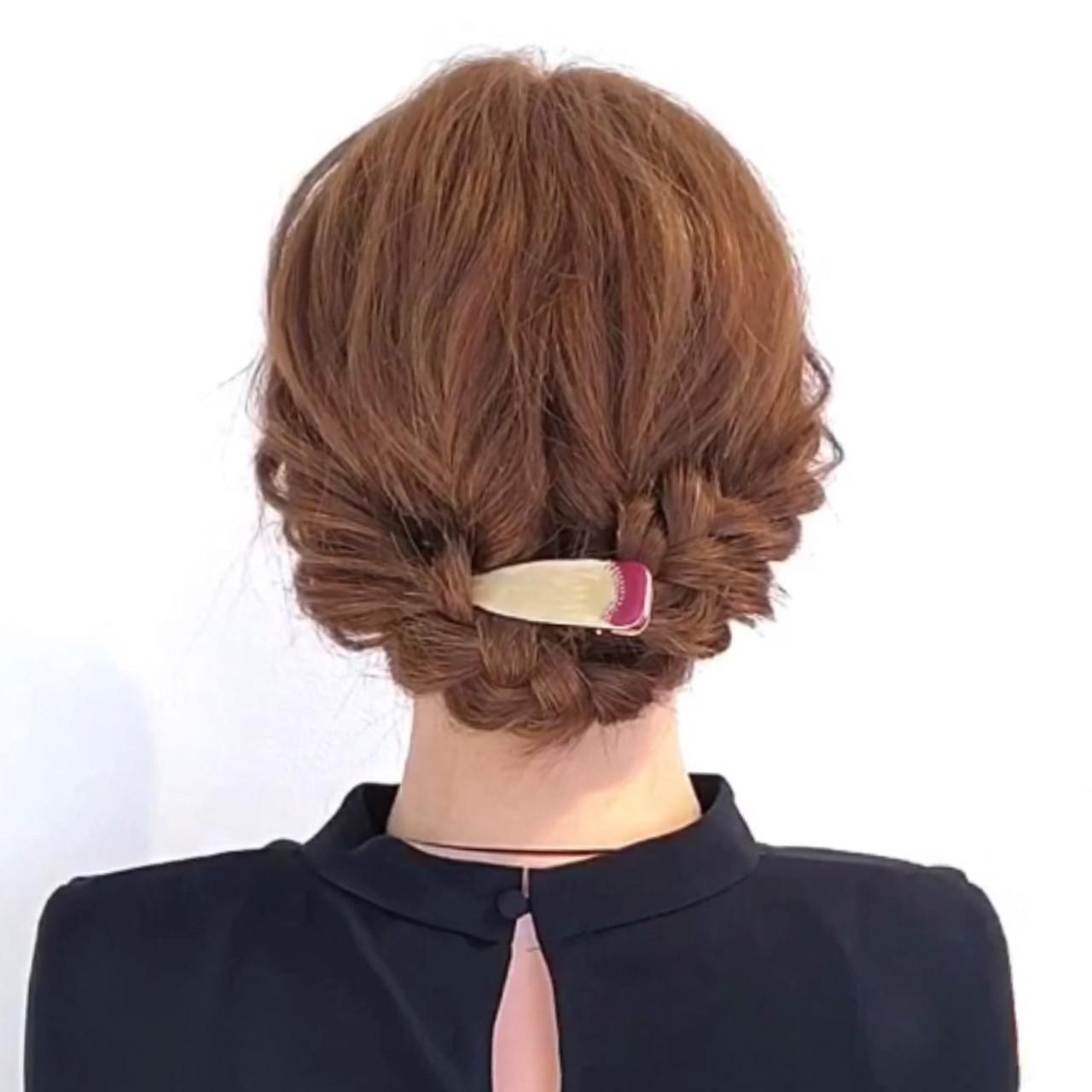 エレガント ヘアアレンジ 三つ編み アップスタイル ヘアスタイルや髪型の写真・画像