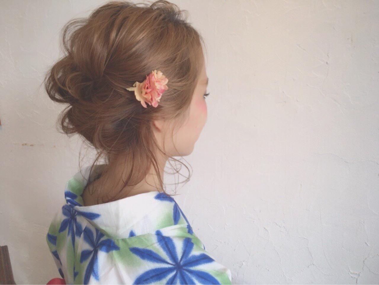 簡単ヘアアレンジ ヘアアレンジ お団子 結婚式 ヘアスタイルや髪型の写真・画像