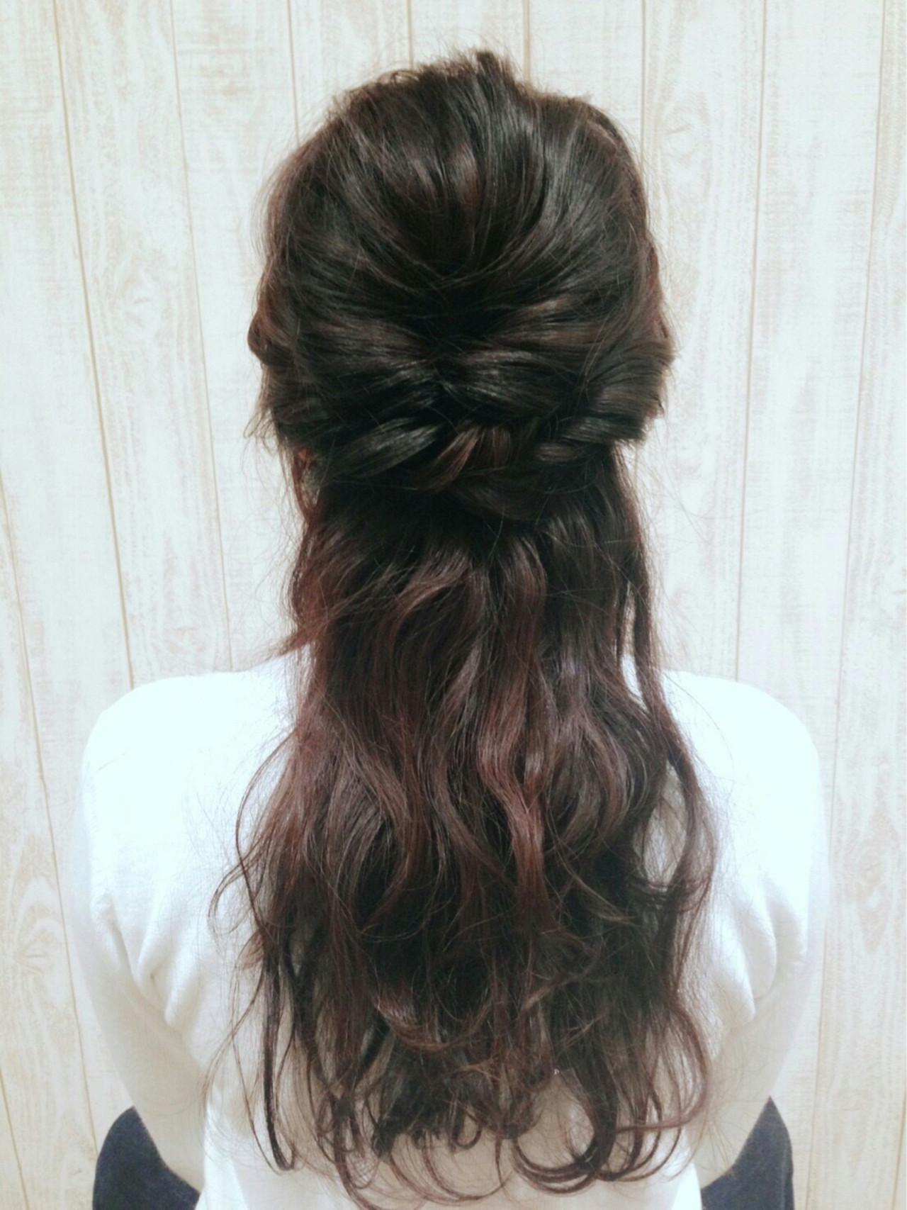 ショート ハーフアップ グラデーションカラー ヘアアレンジ ヘアスタイルや髪型の写真・画像   YUKA /