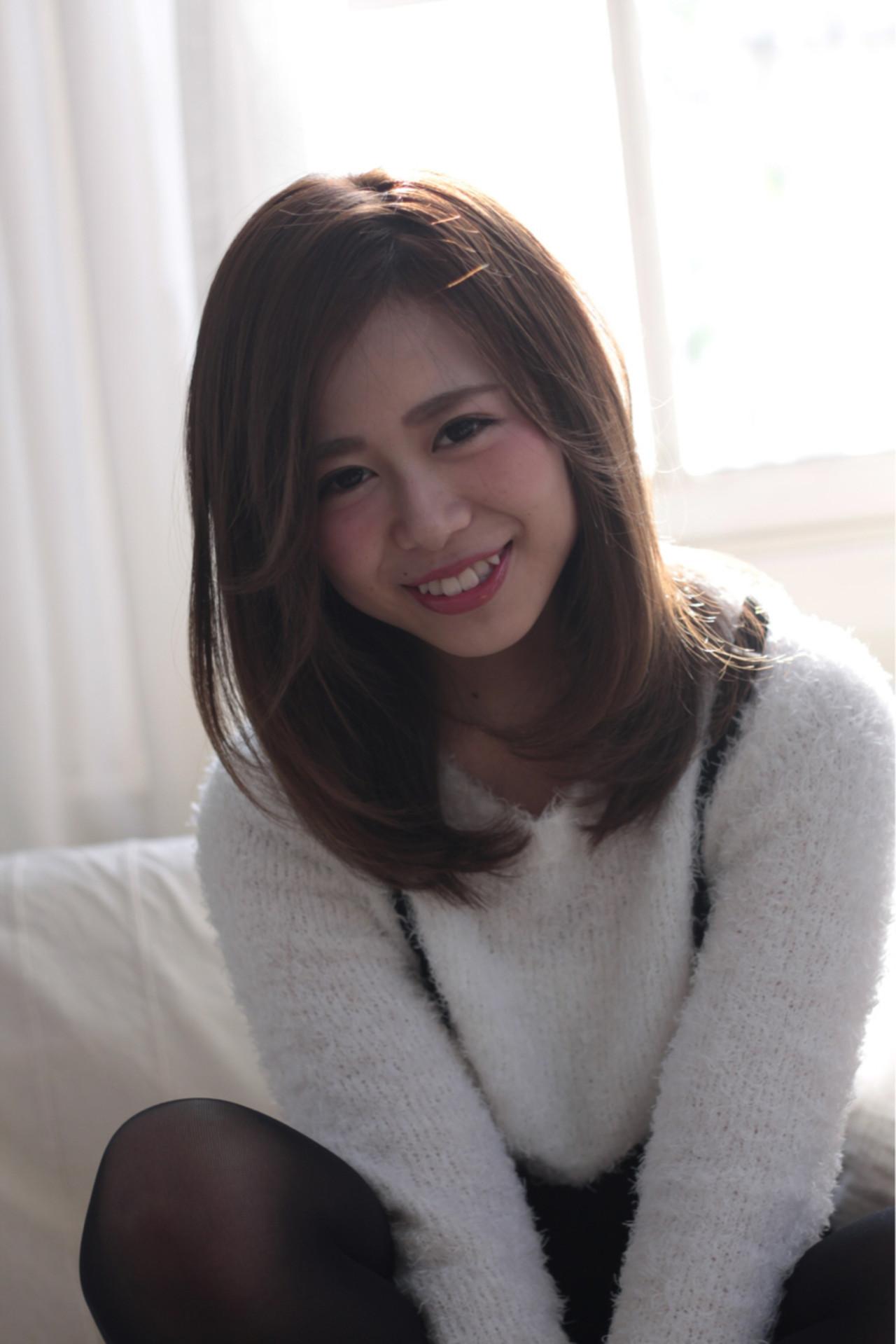 ミディアム 外国人風 ブラウン フェミニン ヘアスタイルや髪型の写真・画像 | 久末健太郎 / HAIR MAKE ASH