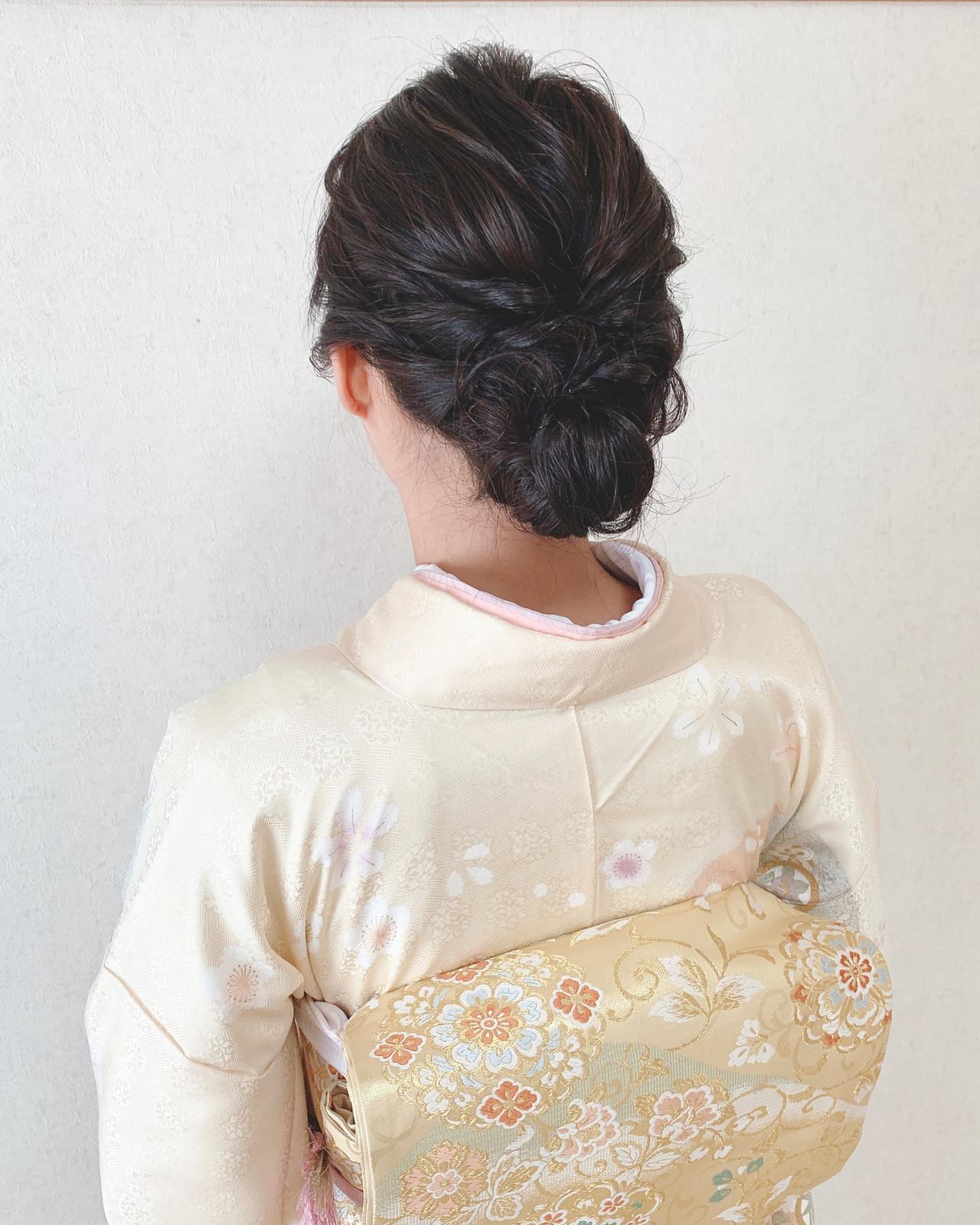 着物 エレガント アップスタイル お呼ばれ ヘアスタイルや髪型の写真・画像 | Moriyama Mami / 福岡天神ヘアセット・着付け専門店【Three-keys】