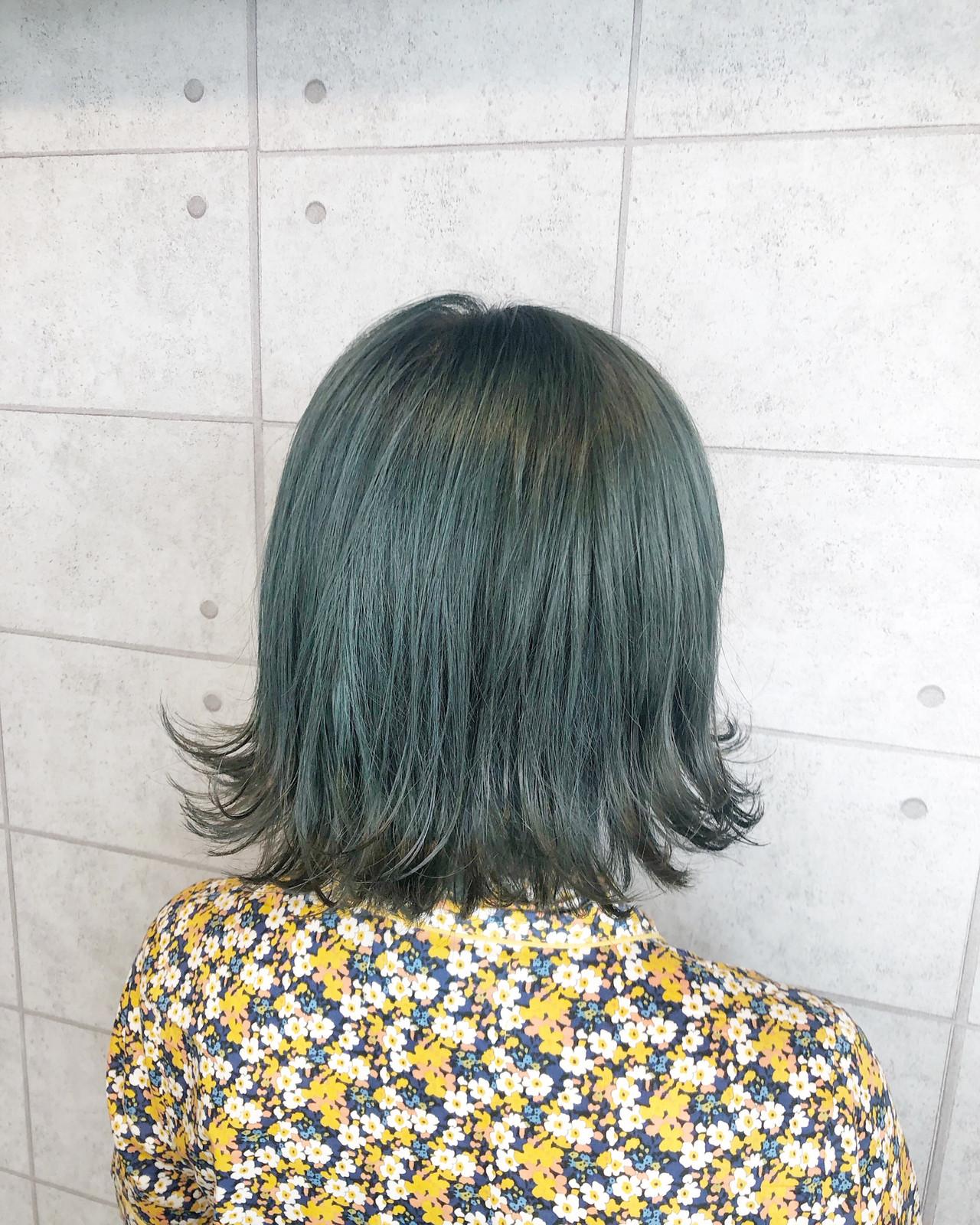 イルミナカラー モード 外ハネボブ クリーミーカラー ヘアスタイルや髪型の写真・画像