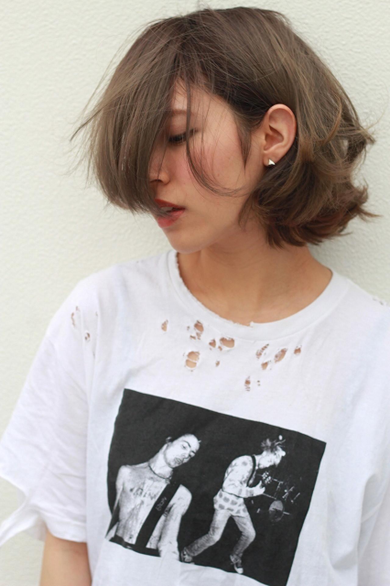 ストリート ボブ 色気 ミルクティー ヘアスタイルや髪型の写真・画像   黒河 祐樹 / ドアベル ヘアリビング