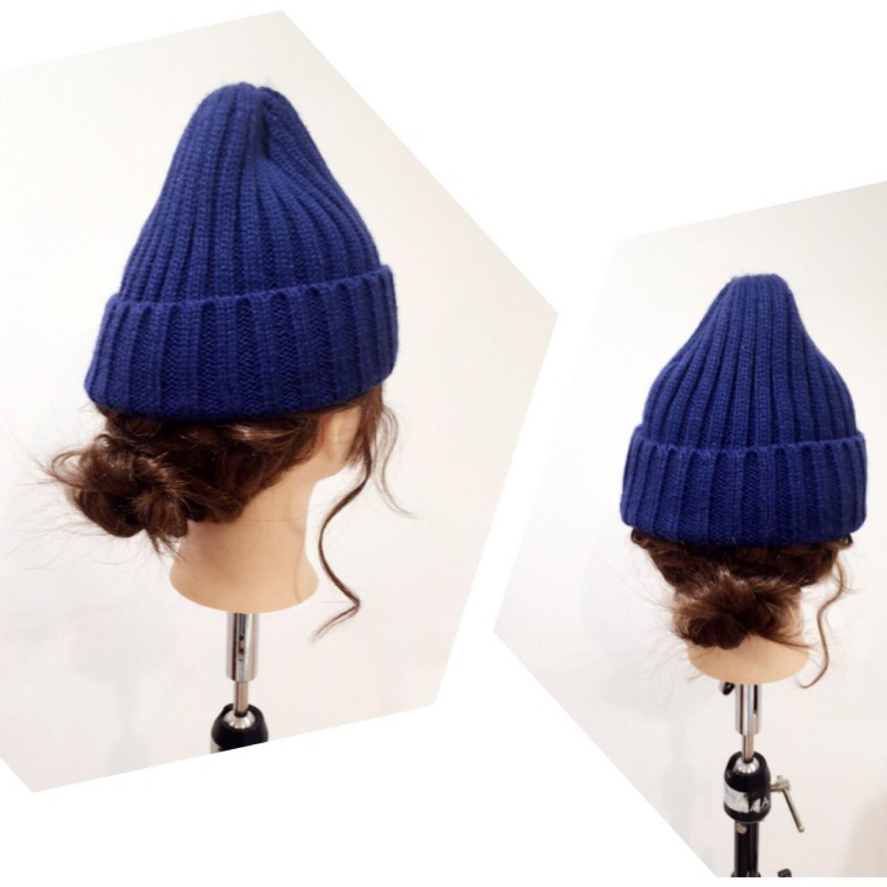 ニット帽アレンジ☆*: * 三つ編みをまとめた簡単アレンジ☆*: * やり方はまた載せます( ´ ▽ ` )ノ