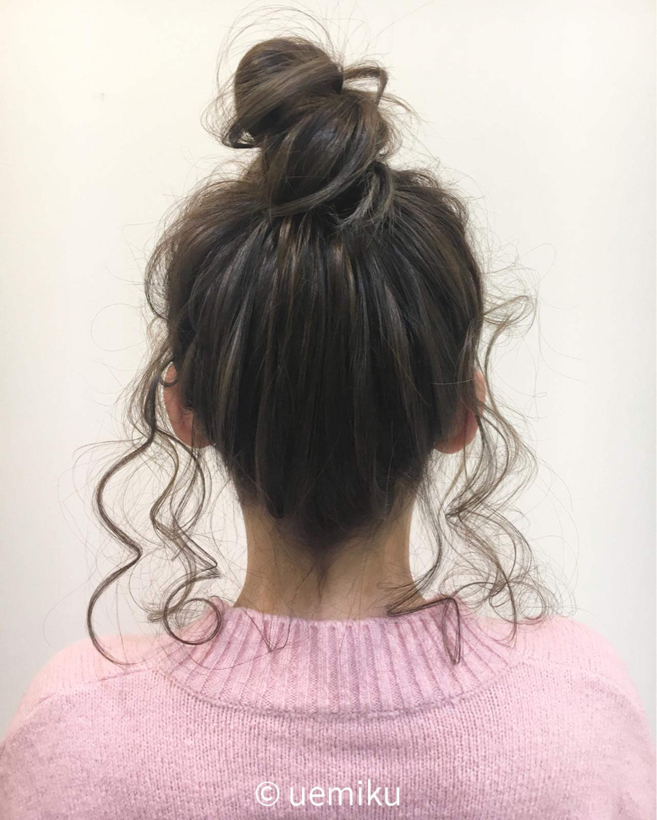 後れ毛 セミロング ショート お団子 ヘアスタイルや髪型の写真・画像 | uemiku / kelly's green