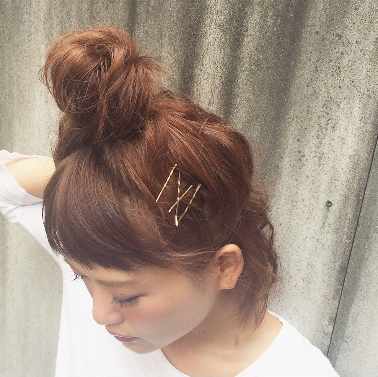 お団子 ストリート ヘアピン ヘアスタイルや髪型の写真・画像